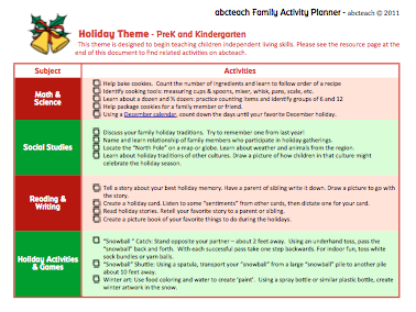 Announcing: New Holiday Activity Planner! 1