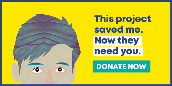 Illustration of a boy, over a yellow background. The text reads: This project saved me. Now they need you. Donate now.