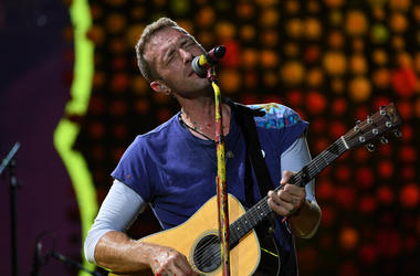 Chris Martin of Coldplay performs at the Hard Rock Stadium