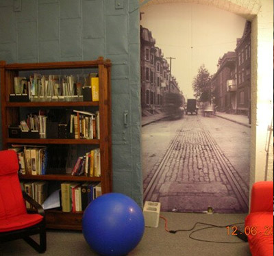 Photo of library, yoga ball, chair