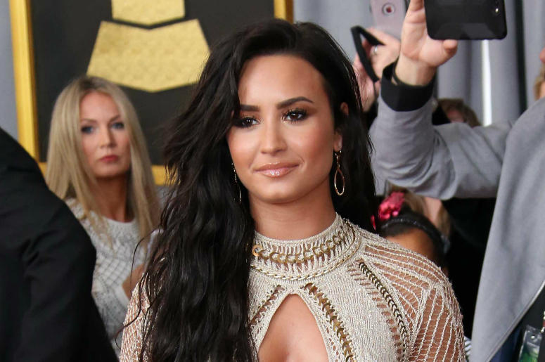 Feb 12, 2017; Los Angeles, CA, USA; Demi Lovato arrives at the 59th Annual Grammy Awards at Staples Center.