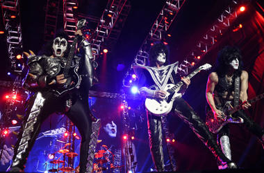 """Gene Simmons (L), Tommy Thayer (C), and Paul Stanley of the band """"Kiss"""""""