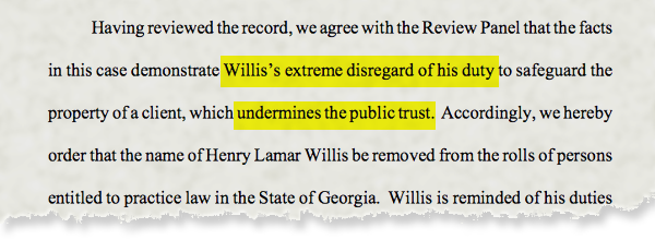 Lamar Willis disbarred
