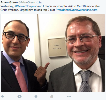 Turn on images to see Adam Green and Grover Norquist together at Fox News.