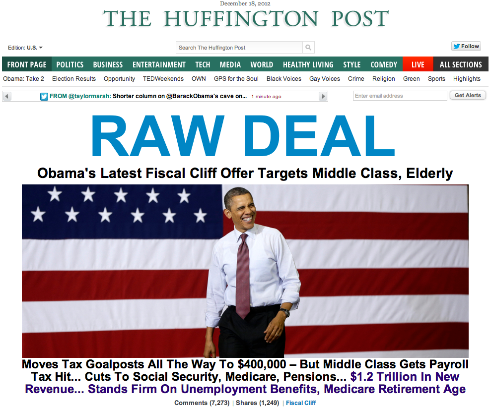 Enable images to see the Huffington Post's bold RAW DEAL headline
