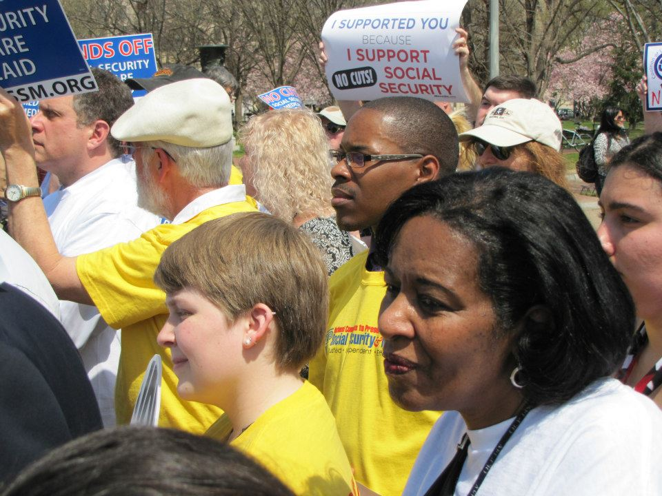 The crowd at the White House petition delivery.