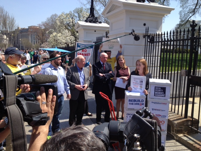PCCC co-founder Stephanie Taylor speaks in front of the White House.