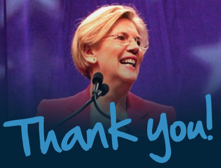 Elizabeth Warren says thanks!