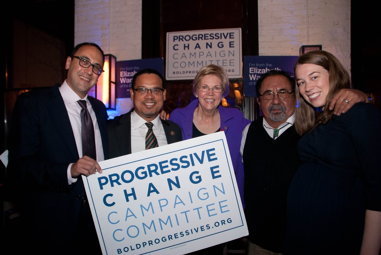 Elizabeth Warren, Keith Ellison, Raul Grijalva, Adam Green, Stephanie Taylor