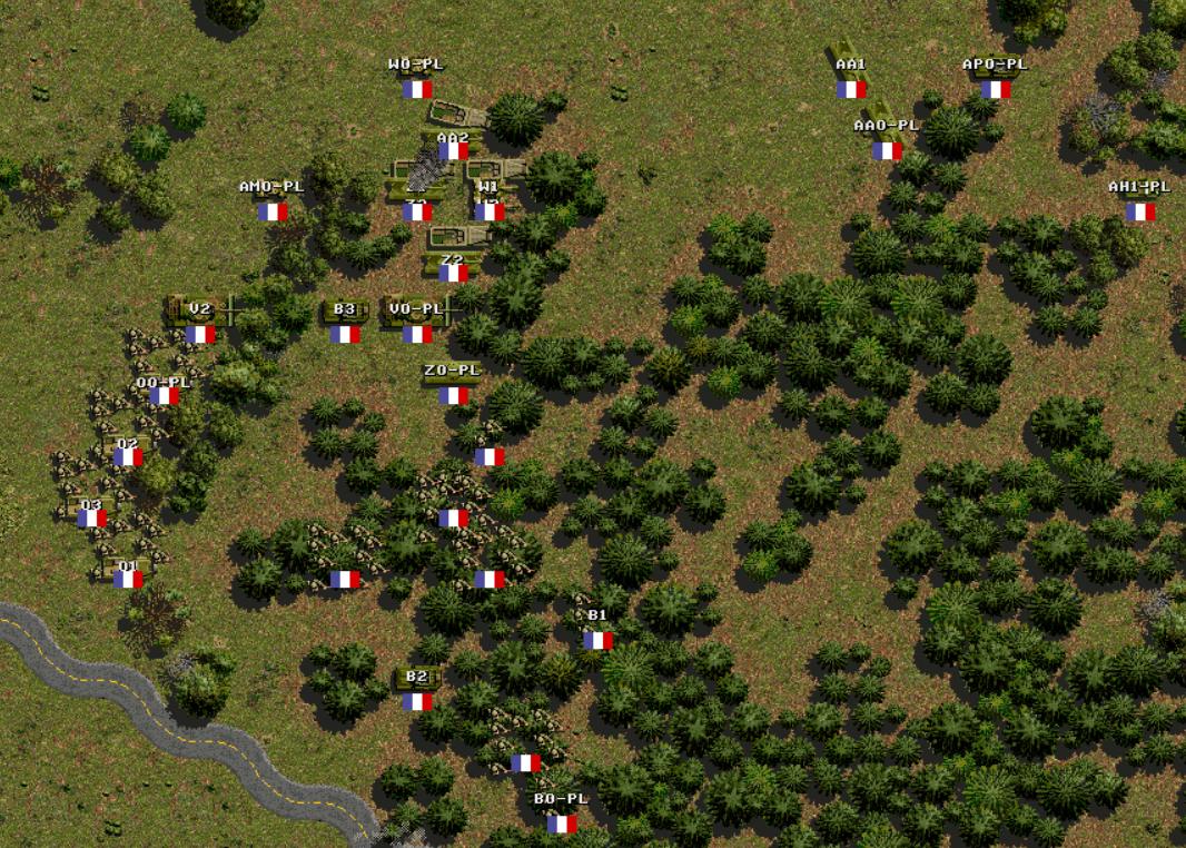 Сверху-справа разведгруппа, вошедшая в прорыв. M3 последуют за ней вторым эшелоном, спешенная пехота пойдет вниз по густому лесу. Танки не могут выдержать темп движения и останутся поддерживать пехоту.