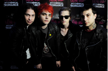 Musicians Ray Toro, Gerard Way, Mikey Way and Frank Iero of My Chemical Romance pose at a press party of announce the 2011 Honda Civic Tour featuring blink-182 and My Chemical Romance