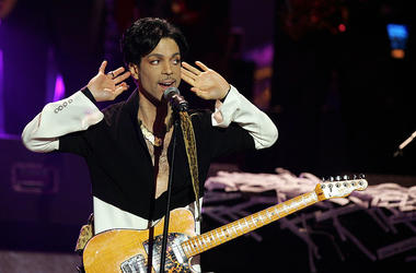 Musician Prince performs on stage at the 36th NAACP Image Awards at the Dorothy Chandler Pavilion on March 19, 2005 in Los Angeles, California. Prince was honored with the Vanguard Award