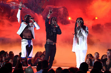 Quavo, Offset and Takeoff of Migos perform onstage at the 2017 BET Awards at the Microsoft Theater on June 25, 2017 in Los Angeles, California.