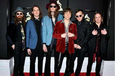Cage The Elephant arrive at the 59th Annual Grammy Awards at Staples Center on February 12, 2017 in Los Angeles, California.