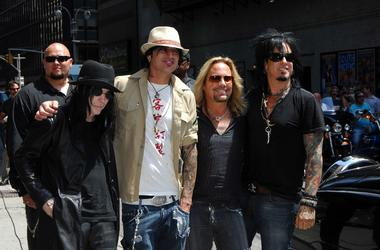 "Mick Mars, Tommy Lee, Vince Neil and Nikki Sixx of Motley Crue at the ""Late Show"" with David Letterman"