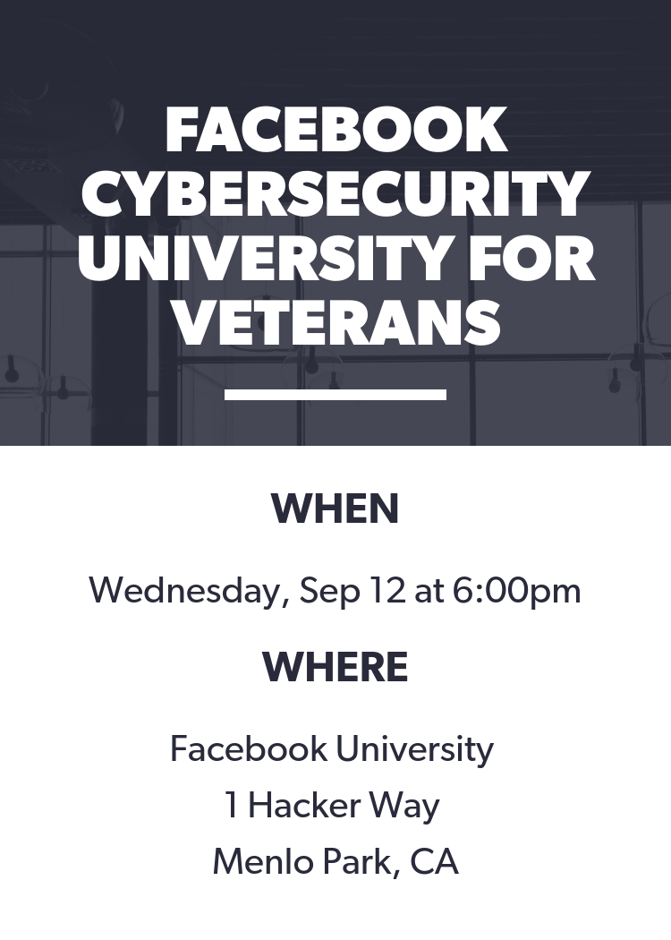 Facebook Cybersecurity University For Veterans