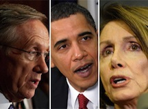 Senate Majority Leader Harry Reid, President Barack Obama, House Minority Leader Nancy Pelosi