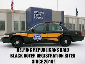 The police do not belong at the polls. Stop Voter Intimidation in Indiana.