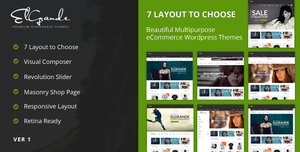 Elgrande - 7 Beautiful Layouts eCommerce Theme | WooCommerce