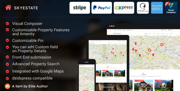 Skyestate – Real Estate with Front end Submission WordPress Theme | Real Estate