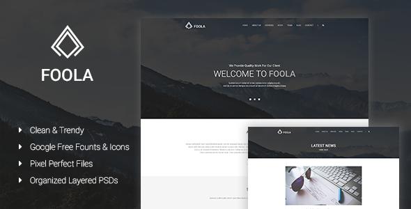 Foola – One Page Multipurpose PSD Template   Creative