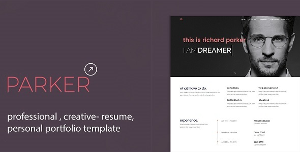 Parker – Professional CV / Resume / Personal Portfolio Template | Personal