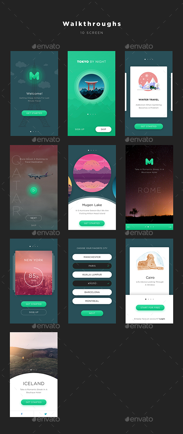 Mugen App UI KIT – Walkthroughs | User Interfaces
