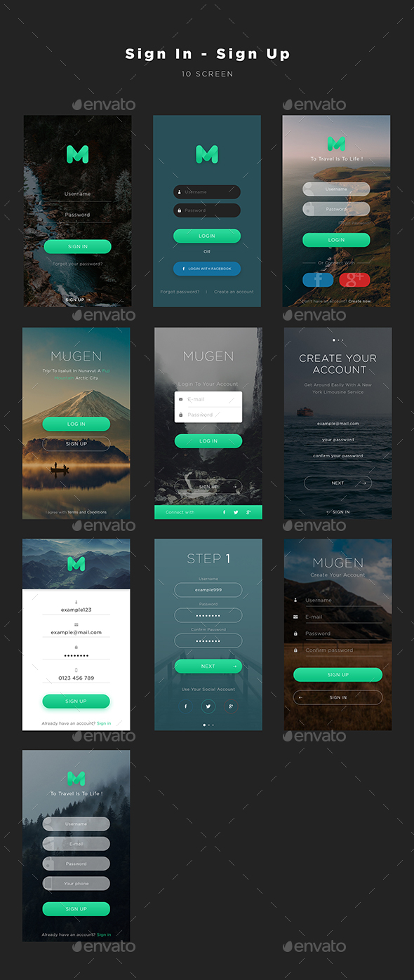 Mugen App UI KIT – Sign In & Sign Up | User Interfaces