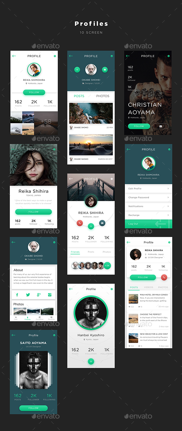 Mugen App UI KIT – Profiles | User Interfaces