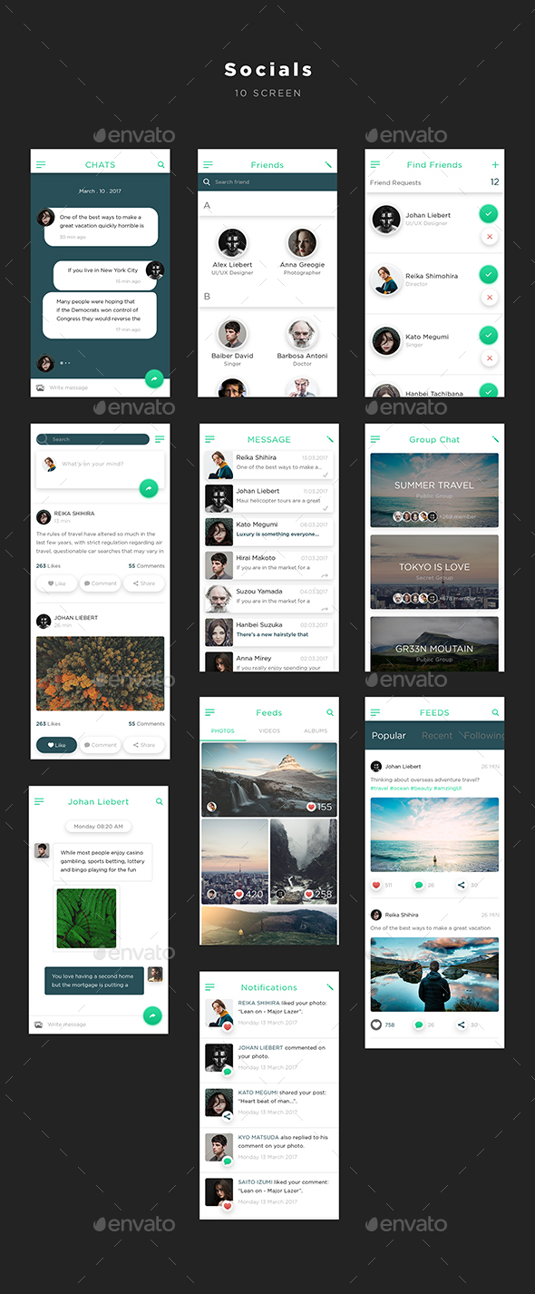 Mugen App UI KIT – Socials | User Interfaces