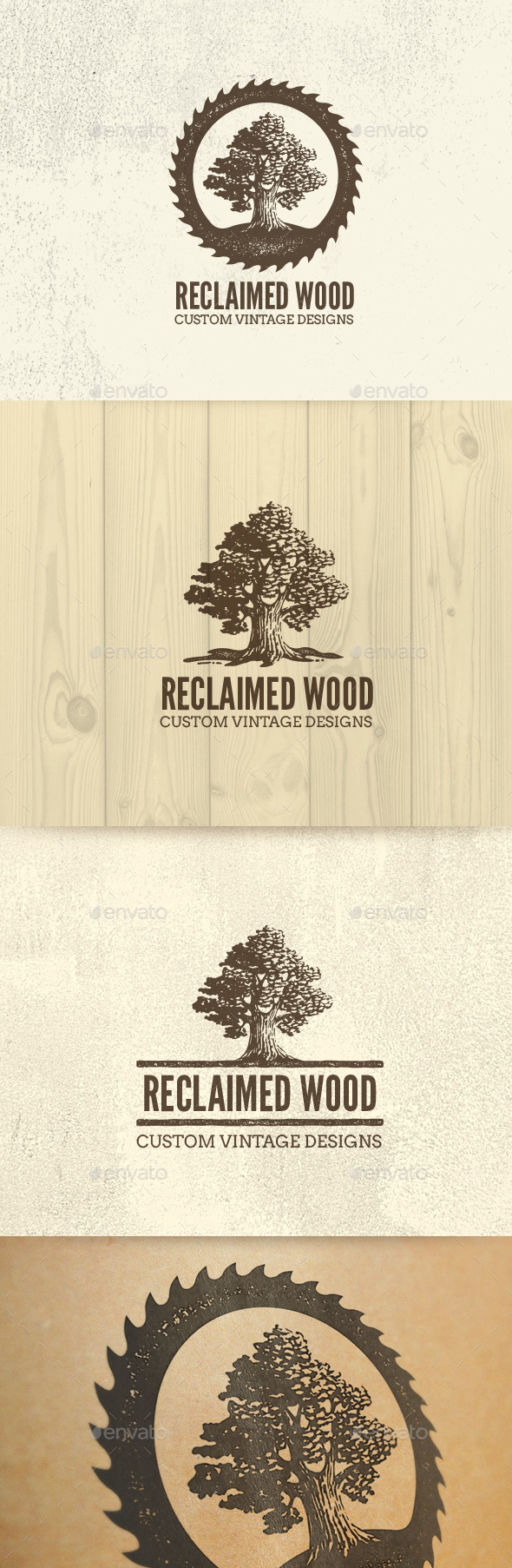 Reclaimed Wood Oak Tree Rough Artisan Logo | Nature