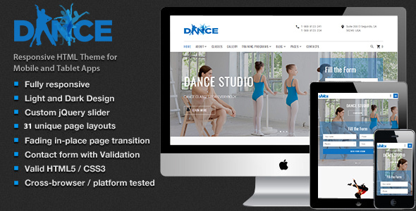 Dance Studio – Dancing Academy  HTML5 Template | Entertainment
