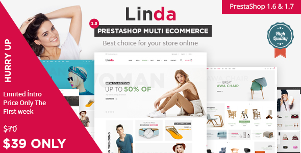 Linda Responsive Prestashop 1.6, 1.7  Theme | Fashion