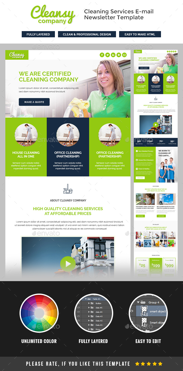 Cleansy – Cleaning Service E-newsletter Template | E-newsletters