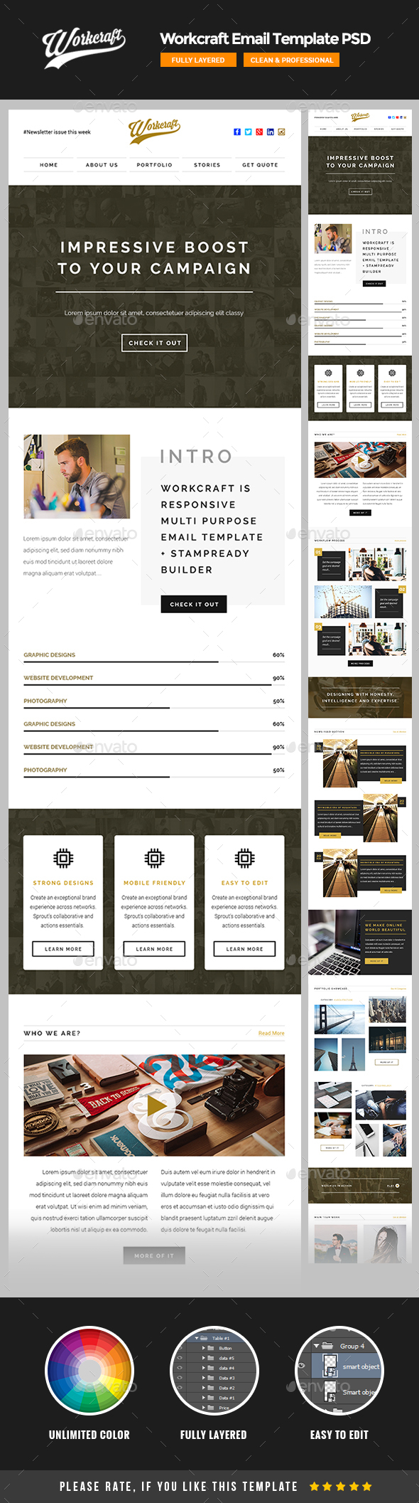 Workcraft – Email Template PSD | E-newsletters