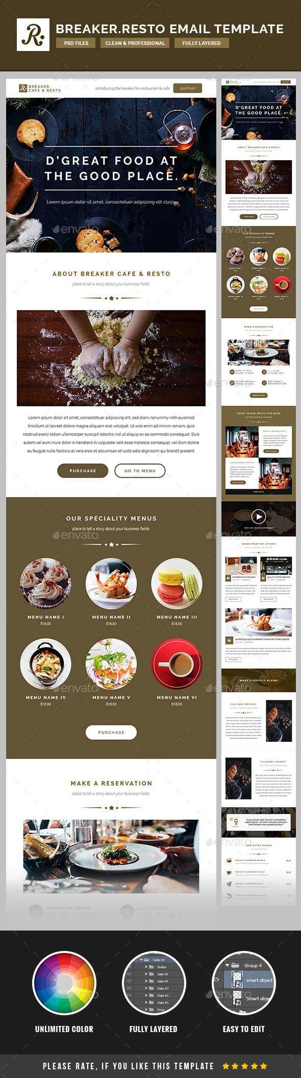 Breaker – Cafe/ Resto Email Template PSD | E-newsletters