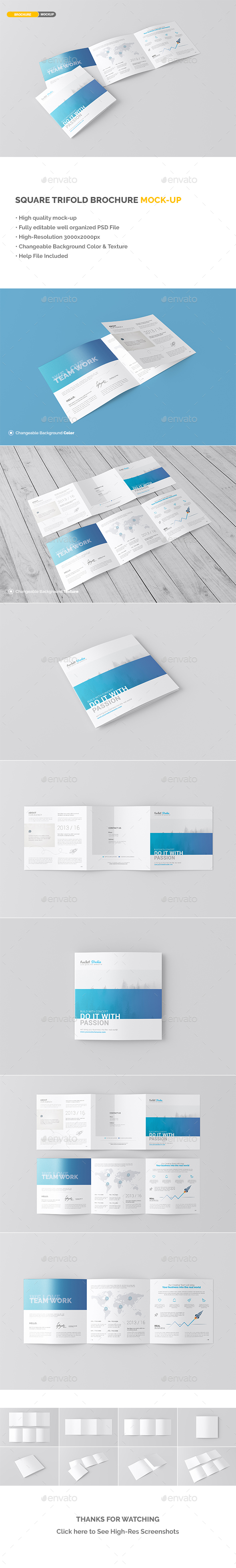 Square Trifold Brochure Mockup | Brochures
