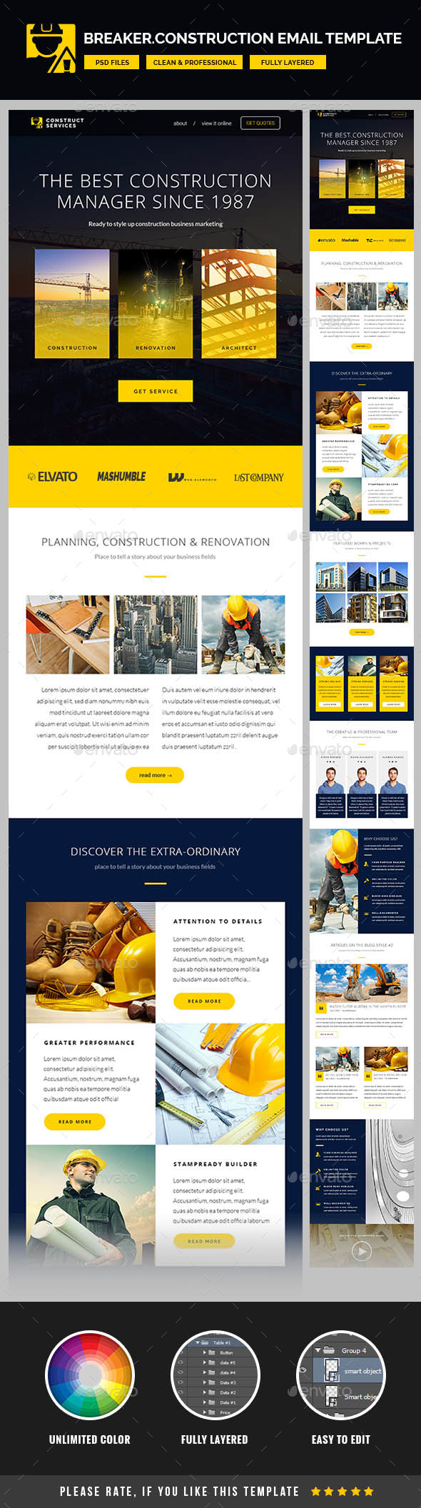 Breaker for Construction Company – Email Template PSD | E-newsletters