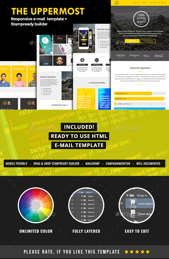 UpperMost, Email Template PSD + HTML with Stampready Builder | E-newsletters