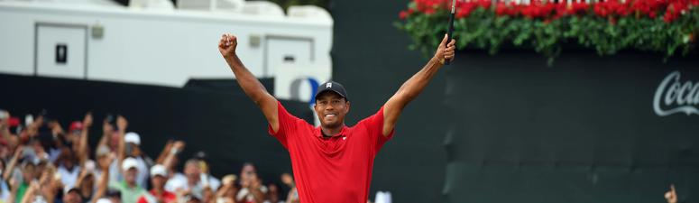 Tiger Woods wins the Tour Championship, his first PGA win in five years