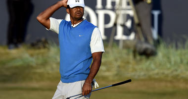 Tiger Woods falters late in Round 1 at the Open Championship
