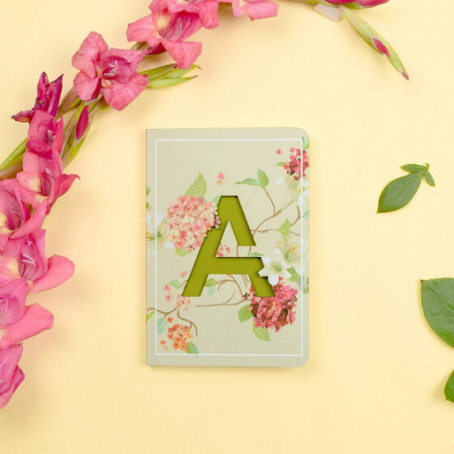 Letter A Initial Floral Monogram Notebook