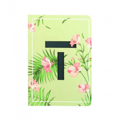 Letter T Initial Floral Monogram Notebook