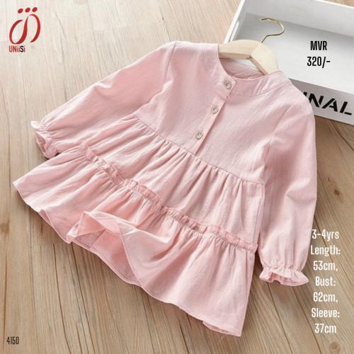 Korean style Girls Long Sleeve Button-down Dress
