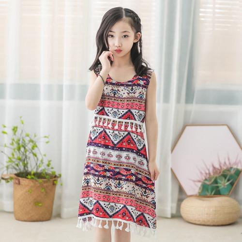 Girls Bohemian Floral Sleeveless Dress