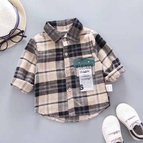 Baby Boy Long Sleeve Cotton Plaid Soft Shirt
