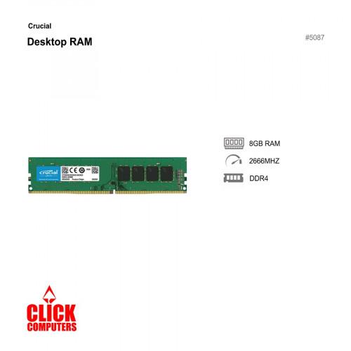 Crucial 8GB DDR4 2666 MHz PC4-21300  Desktop RAM - CB8GU2666
