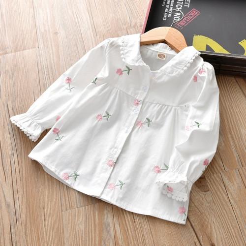 Korean Style Baby Girl Embroidered Flower Long-sleeve Blouse Shirt
