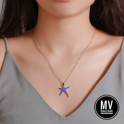 Star Fish Beach Theme Pendant Necklace for Nature Lovers Love Gift Ladies Women Girl Friend Maldives Sea Cute