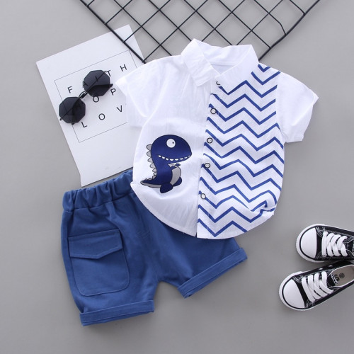 Boys Fashion Shark Cartoon Shirt and Pants